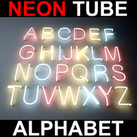 3d model letters alphabet neon lights