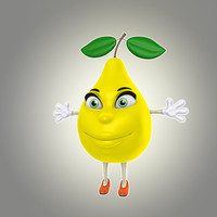 3d obj cartoon pear