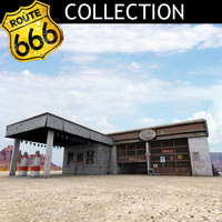 highway old gas station obj