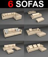 3d model of 6 sofa