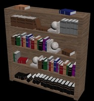 3d bookshelf polys low-poly