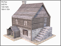 Colonial Log House, Low Poly, Textured