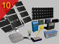 3d solar panels inverter cell model