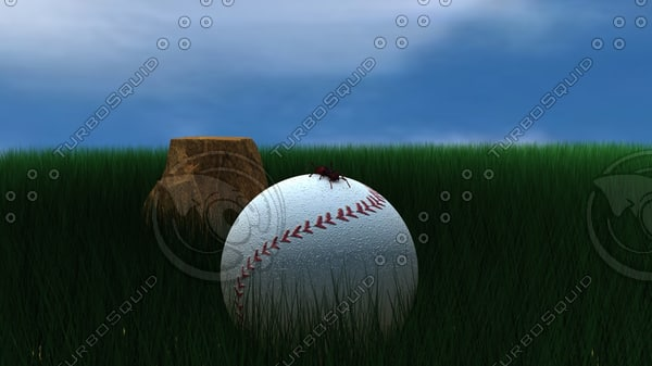3d c4d grass baseball ant - baseball in grass... by DROELOE