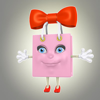 3d model of cool cartoon bag