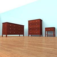bedroom chest nightstand 3d model