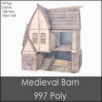 Medieval Barn, Low Poly, Textured