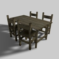 table chairs 3d model