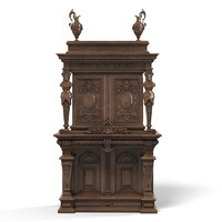 Baroque wardrobe armoire tv media cabinet big antique carved victorian furniture