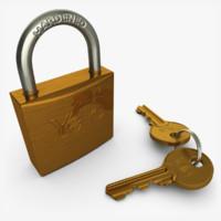 3d padlock key model