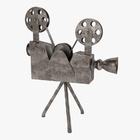 3d antique movie camera model