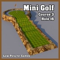 Low Poly Mini Golf Hole C3H16