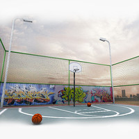 3d model photorealistic basketball court