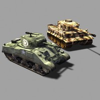 Sherman and Tiger tanks