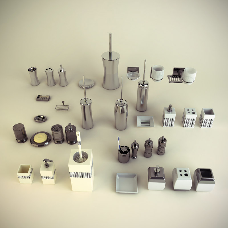 Set bathroom accessories 3d max for 3d bathroom accessories