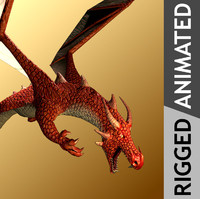 3d mythical red dragon