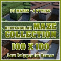 100x100 Low Polygon Rectangular Maze Collection