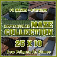 25x10 Low Polygon Rectangular Maze Collection