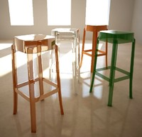 Stool Charles Ghost,Philippe Starck, square base