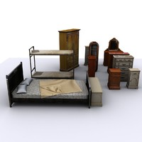 bedroom pack bed 3d 3ds