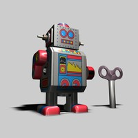 tin toy robot 3d c4d