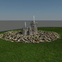 3d model rock water fountain