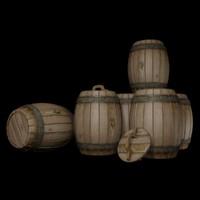 wooden barrels 3d max