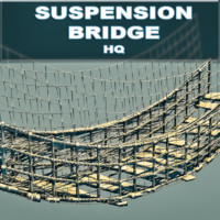3d model suspension wooden bridge