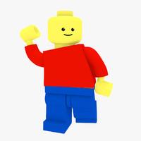 free lego minifigure brick figure 3d model