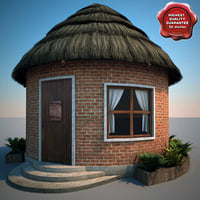 3d thatch roofed house