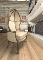 versailles domed burlap-backed chair 3d model