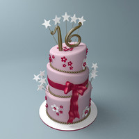 lopsided birthday cake sweet 3d model