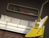 guitar gibson 1958 korina 3d 3ds