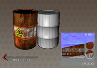flammable barrel c4d