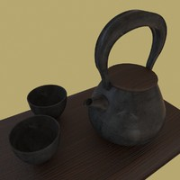 3d contemporary japanese tea set