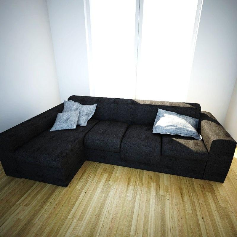 3d modular sofa chaise longue for Chaise longue dwg