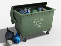 3d model garbage container trashbags trash