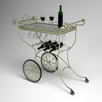 Ornate Metal Wine or Tea Serving Cart
