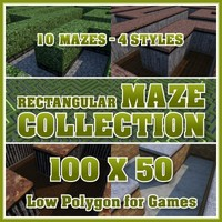100x50 Low Polygon Rectangular Maze Collection
