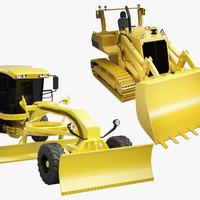 3d model bulldozer motor grader