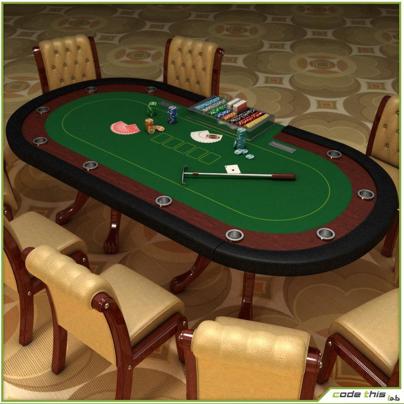 Casino Poker Cards Table 3d Model