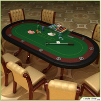 3d model casino poker cards table