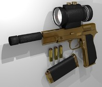 golden pistol scope 3d model