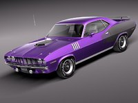 3d plymouth cuda barracuda 1971