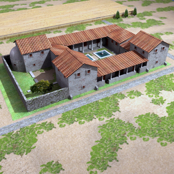 3d max roman villa rustica for Roman architecture house design