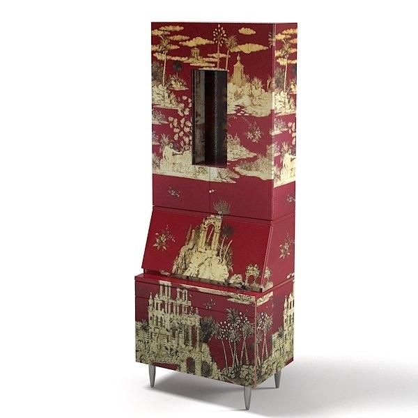 fornasetti bureau armoire 3d model. Black Bedroom Furniture Sets. Home Design Ideas