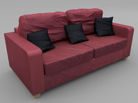 seat sofa wine red 3d fbx