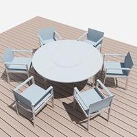 3d model table 6 chairs exteriors