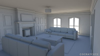 3d apartment livingroom room model