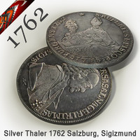 realistic coin silver thaler 3d model